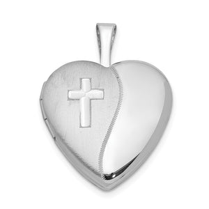 Sterling Silver 16mm Polished and Satin Heart w/ Cross Locket Necklace - The Black Bow Jewelry Co.