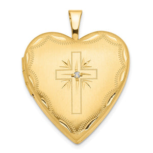 20mm Heart Locket with Diamond Accent Cross in 14k Yellow Gold - The Black Bow Jewelry Co.