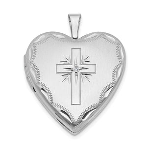 20mm Heart Locket with Diamond Accent Cross in 14k White Gold - The Black Bow Jewelry Co.