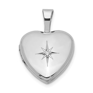 12mm Diamond Star Design Heart Shaped Locket in Sterling Silver - The Black Bow Jewelry Co.