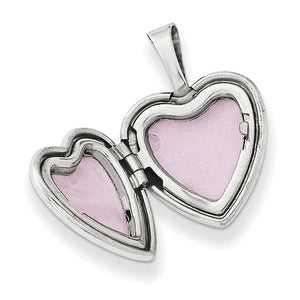Alternate view of the 12mm Diamond Star Design Heart Shaped Locket in Sterling Silver by The Black Bow Jewelry Co.