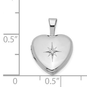 12mm Diamond Star Design Heart Shaped Locket in Sterling Silver