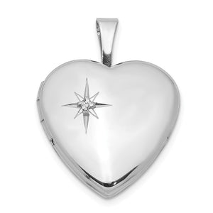 16mm Diamond Star Design Heart Shaped Locket in Sterling Silver - The Black Bow Jewelry Co.