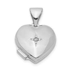 12mm Diamond Accent Heart Shaped Locket in Sterling Silver Necklace - The Black Bow Jewelry Co.