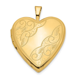 14k Yellow Gold 20mm Swirl Etched Heart Locket - The Black Bow Jewelry Co.