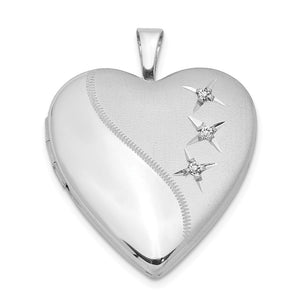 20mm Polished and Satin Triple Diamond Heart Locket in Sterling Silver - The Black Bow Jewelry Co.