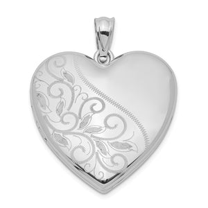 Sterling Silver 24mm Scrolled Heart Family Locket - The Black Bow Jewelry Co.