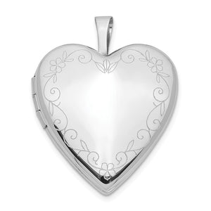 14k White Gold Heart with Flower Vine Border Locket, 20mm - The Black Bow Jewelry Co.