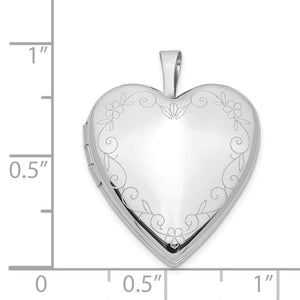 14k White Gold Heart with Flower Vine Border Locket, 20mm
