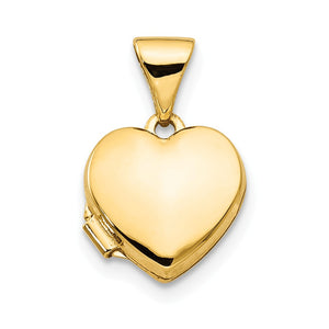 14k Yellow Gold 10mm Polished Heart Shaped Locket - The Black Bow Jewelry Co.