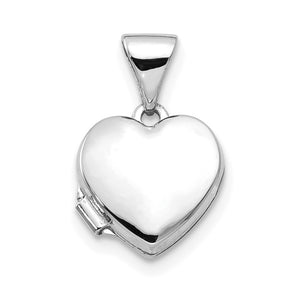 14k White Gold 10mm Polished Heart Shaped Locket - The Black Bow Jewelry Co.