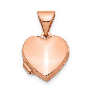 14k Rose Gold 10mm Polished Heart Shaped Locket - The Black Bow Jewelry Co.