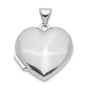 14k White Gold 18mm Polished Domed Heart Locket - The Black Bow Jewelry Co.
