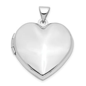 14k White Gold 21mm Family Polished Heart Locket - The Black Bow Jewelry Co.