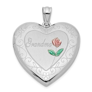 Sterling Silver and Enamel 24mm Grandma Floral Heart Locket - The Black Bow Jewelry Co.