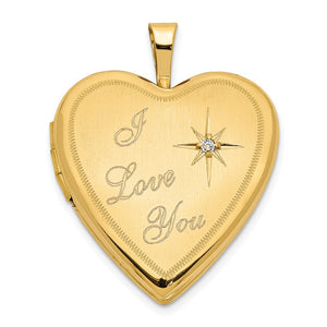 20mm I Love You Diamond Heart Locket in 14k Yellow Gold - The Black Bow Jewelry Co.