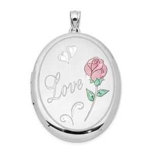 Sterling Silver and Enamel 34mm Love Rose Oval Locket - The Black Bow Jewelry Co.