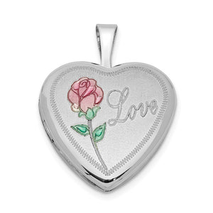Sterling Silver and Enamel 16mm Love Rose Heart Locket - The Black Bow Jewelry Co.