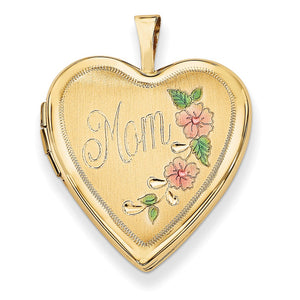 14k Yellow Gold and Enamel Mom Floral Heart Locket, 20mm - The Black Bow Jewelry Co.