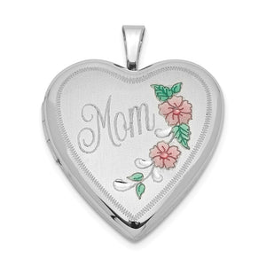 Sterling Silver and Enamel 20mm Mom Floral Heart Locket - The Black Bow Jewelry Co.