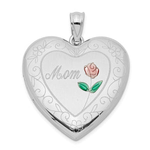 Sterling Silver and Enamel 24mm Mom Rose Heart Locket Necklace - The Black Bow Jewelry Co.