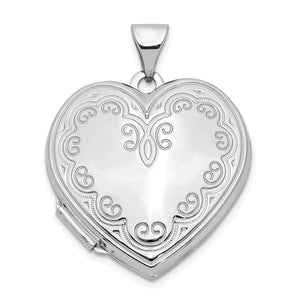 14k White Gold 21mm Ornate Heart Locket - The Black Bow Jewelry Co.