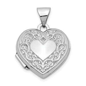 14k White Gold 15mm Scroll Heart Locket - The Black Bow Jewelry Co.