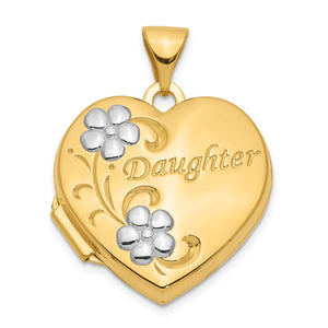 14k Yellow Gold & White Rhodium 18mm Daughter Heart Locket Pendant - The Black Bow Jewelry Co.