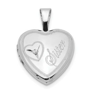 12mm Sister Diamond Heart Locket in Sterling Silver - The Black Bow Jewelry Co.