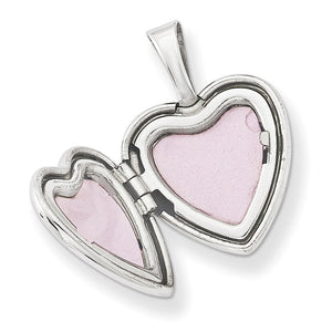 Alternate view of the 12mm Sister Diamond Heart Locket in Sterling Silver by The Black Bow Jewelry Co.