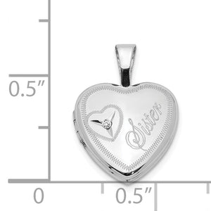 12mm Sister Diamond Heart Locket in Sterling Silver