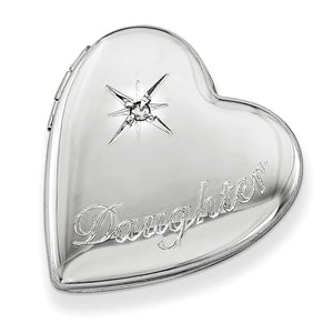 20mm Daughter Diamond Heart Slide Locket in Sterling Silver - The Black Bow Jewelry Co.