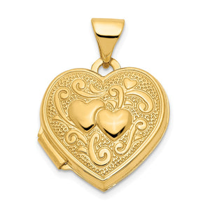 14k Yellow Gold 15mm Double Design Heart Shaped Locket - The Black Bow Jewelry Co.