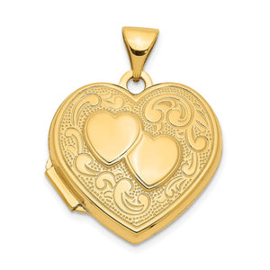 14k Yellow Gold 18mm Double Design Heart Shaped Locket - The Black Bow Jewelry Co.