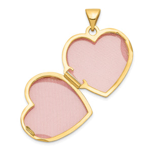 Alternate view of the 14k Yellow Gold 18mm Double Design Heart Shaped Locket by The Black Bow Jewelry Co.