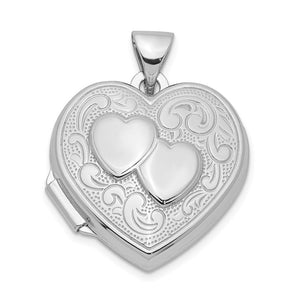 Sterling Silver 18mm Double Design Heart Shaped Locket - The Black Bow Jewelry Co.