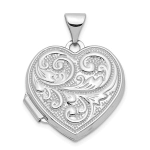 14k White Gold 18mm Love You Always Scroll Heart Locket - The Black Bow Jewelry Co.