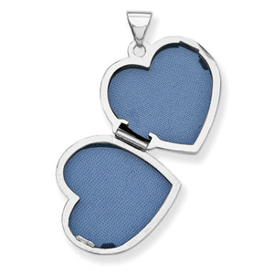 Alternate view of the 14k White Gold 18mm Love You Always Scroll Heart Locket by The Black Bow Jewelry Co.