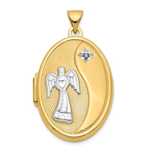 26mm Reversible Diamond Guardian Angel Oval Locket in 14k Yellow Gold - The Black Bow Jewelry Co.