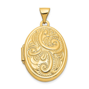 14k Yellow Gold 21mm Domed Scroll Oval Locket - The Black Bow Jewelry Co.