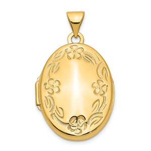 14k Yellow Gold 21mm Hand Engraved Floral Oval Locket - The Black Bow Jewelry Co.
