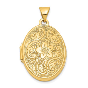 14k Yellow Gold 21mm Scrolled Floral Locket - The Black Bow Jewelry Co.