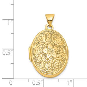 14k Yellow Gold 21mm Scrolled Floral Locket