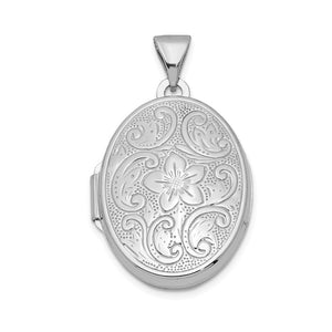 Sterling Silver 20mm Scrolled Floral Locket - The Black Bow Jewelry Co.