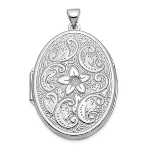 14k White Gold 32mm Reversible Scrolled Flower Locket - The Black Bow Jewelry Co.