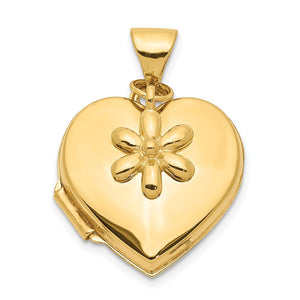 14k Yellow Gold Polished Heart Locket with Daisy Charm, 15mm - The Black Bow Jewelry Co.