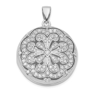 Sterling Silver and Cubic Zirconia Flower Design Locket, 22mm - The Black Bow Jewelry Co.