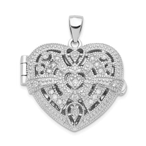 Sterling Silver and CZ Textured Design Heart Locket, 22mm - The Black Bow Jewelry Co.
