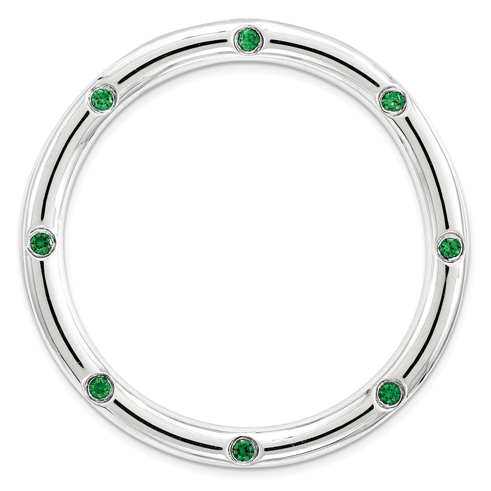 Sterling Silver & Cr. Emerald Stackable Expressions Large Slide, 29mm