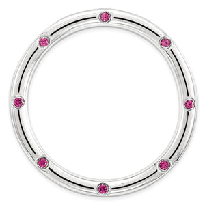 Sterling Silver & Created Ruby Stackable Expressions Large Slide, 29mm - The Black Bow Jewelry Co.